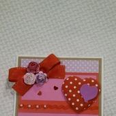 Валентинка - открытка Сердечко в горошек