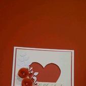 Валентинка - открытка Сердечко с красными цветами