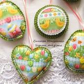 Набор из фетра и ткани 3шт. Цветы, кролики, цыплята Пасха Весна