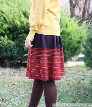 Вязаная юбка теплая яркая ручной работы на заказ