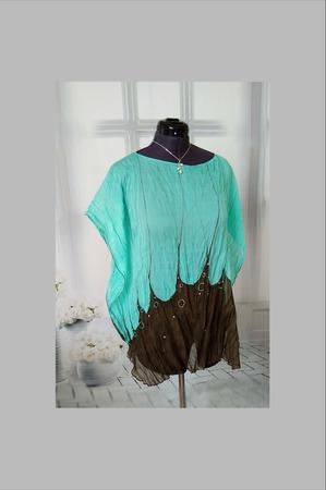 Туника  шёлковая цвет морская волна и кофе ручной работы на заказ