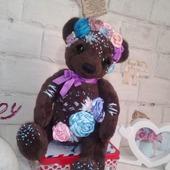 Мишка с вышивкой Розочка
