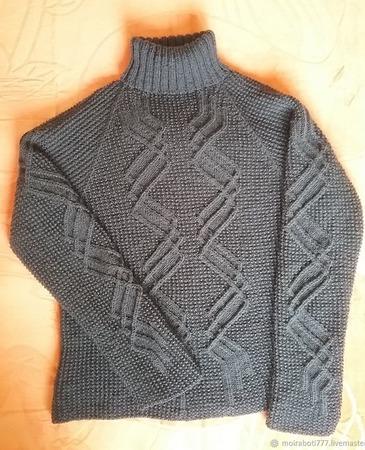 Описание вязания мужского джемпера с узором ручной работы на заказ