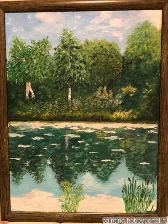 """Картина """"Лесное озеро"""" ручной работы на заказ"""
