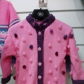 Кофточка розовая с шишечками на пуговицах для девочки