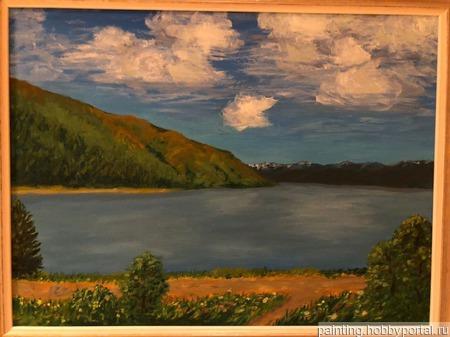"""Картина """"Волга. Жигулевские горы"""" ручной работы на заказ"""