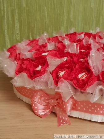 """Конфетный букет """"Сердце"""" ручной работы на заказ"""