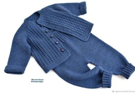 """Вязаные детские штанишки и жакет цвета """"Джинс"""" ручной работы на заказ"""