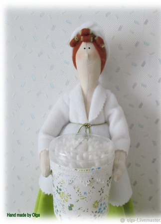 Тильда - хранительница ватных палочек и дисков ручной работы на заказ