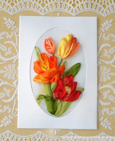 "Открытка ""Яркие тюльпаны"" ручной работы на заказ"