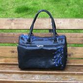 """Женская кожаная сумка """"Астарта"""" черно-синяя"""
