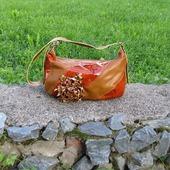 "Кожаная женская сумка ""Клаудия"" рыжая"