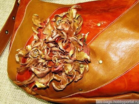 "Кожаная женская сумка ""Клаудия"" рыжая ручной работы на заказ"