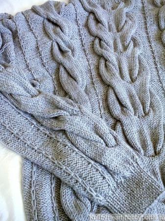 """Вязаный свитер """"Косы"""" от Knit by Heart в Москве ручной работы на заказ"""