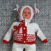 Вязаный теплый зимний комплект  из шерсти мериноса для новорожденного