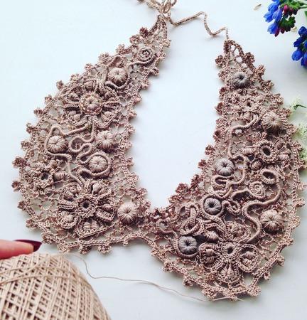 Вязаный воротничок ирландское кружево винтажный стиль ручной работы на заказ