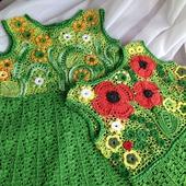 Платье вязаное для девочки ирландское кружево
