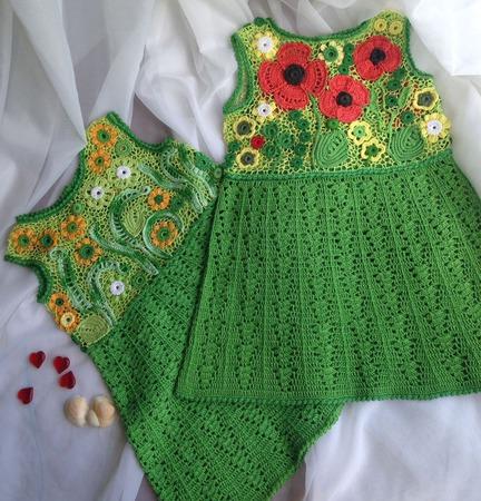 Платье вязаное для девочки ирландское кружево ручной работы на заказ