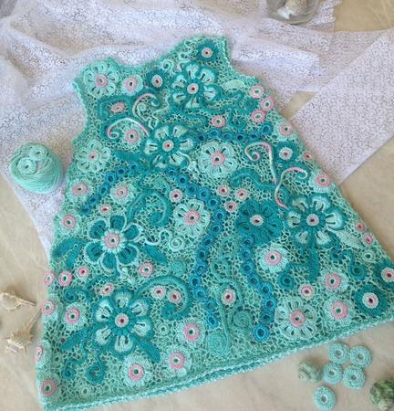 """Детское платье ирландское кружево """"Мятное"""" ручной работы на заказ"""