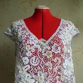 "Кружевная блуза ""Белые цветы"" Ирландское кружево вязаная"