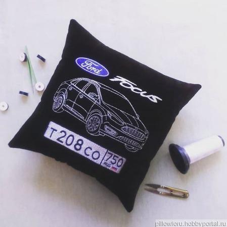 Подушка автомобильная Ford Focus ручной работы на заказ