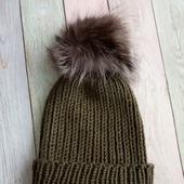 Модная шапка бини с помпоном