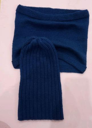 """Комплект """"Синие дали"""" шапка и снуд спицами ручной работы на заказ"""