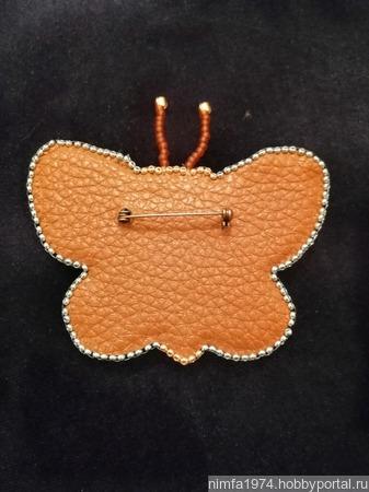"""Брошь """"Малахитовая бабочка"""" с натуральным малахитом ручной работы на заказ"""