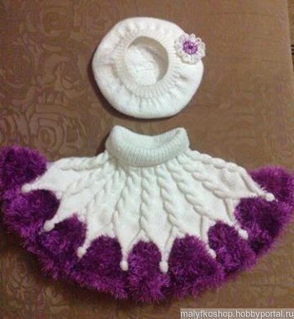 Комплект шапочка и пончо ручной работы на заказ