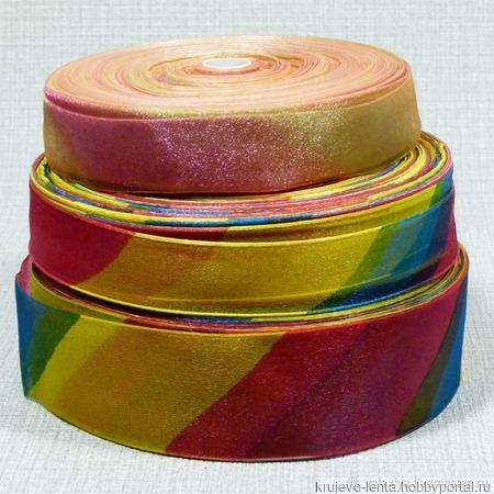 Лента подарочная из органзы многоцветная ручной работы на заказ