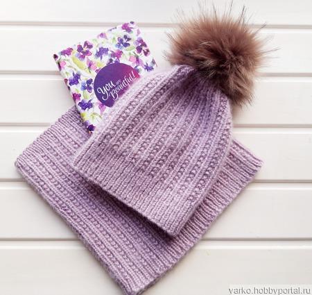 Комплект шапка со снудом ручной работы на заказ