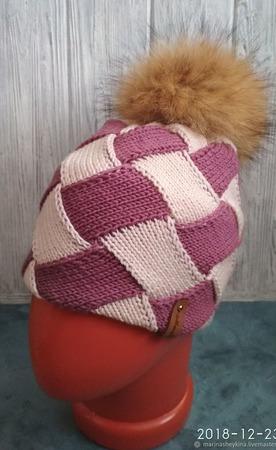 Двойная шапка из мериносовой шерсти ручной работы на заказ