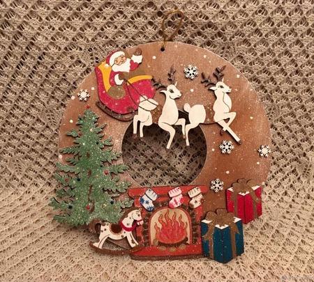"""Новогоднее панно """"Дед Мороз"""" ручной работы на заказ"""