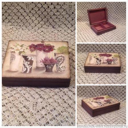 Шкатулка Цветы в вазах и Винтажная ручной работы на заказ
