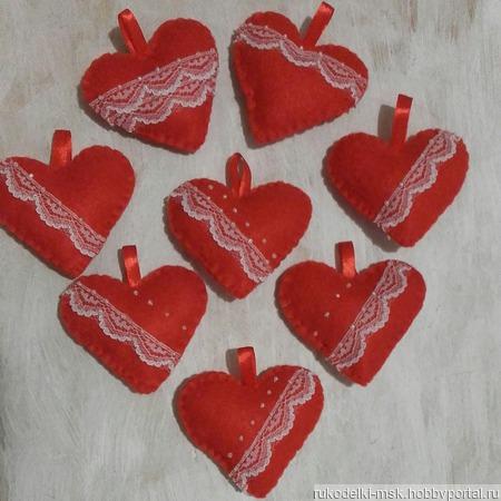 Сердечко из фетра Валентинка ручной работы на заказ