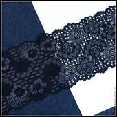Кружево гипюровое эластик- ажурное черное