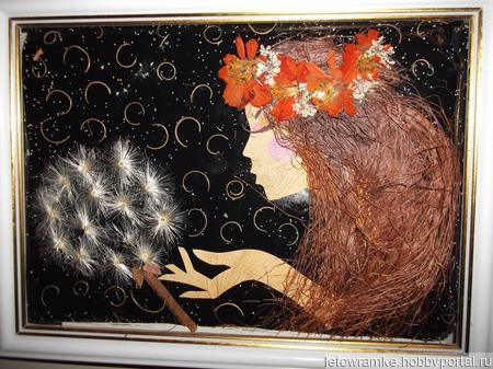 """Картина """"Прикосновение"""" из растений ручной работы на заказ"""