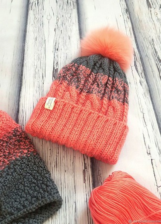 Зимняя шапка и снуд из полушерсти ручной работы на заказ