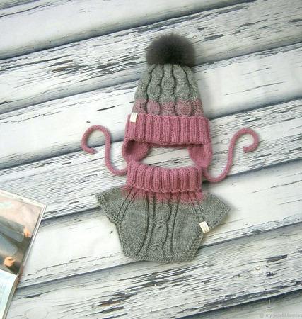Зимний комплект из полушерсти ручной работы на заказ