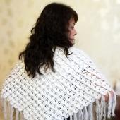 Шаль ручной работы из натуральной шерсти, узор «Крокодиловая кожа»