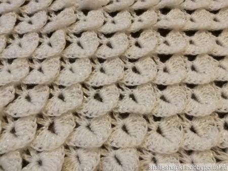 Шаль ручной работы из натуральной шерсти, узор «Крокодиловая кожа» ручной работы на заказ