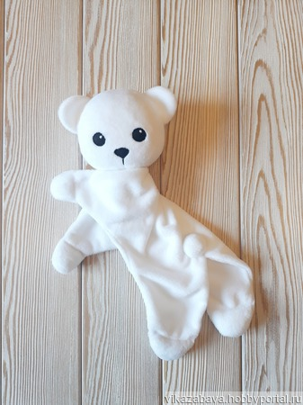 """Плюшевый комфортер белый медвежонок """"Умка"""" ручной работы на заказ"""