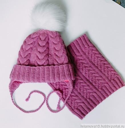 Вязанная шапка и снуд ручной работы на заказ