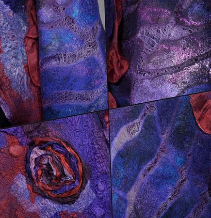 """Палантин валяный """"Фиолетовый пунш"""" ручной работы на заказ"""