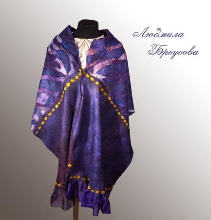 """Палантин фиолетовый валяный """"Зимняя фиалка"""" ручной работы на заказ"""