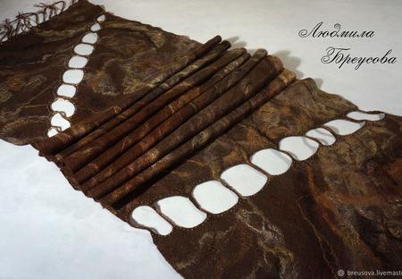 """Палантин валяный """"Когда хочется шоколада"""" ручной работы на заказ"""