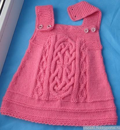 Розовый сарафан для малышки ручной работы на заказ