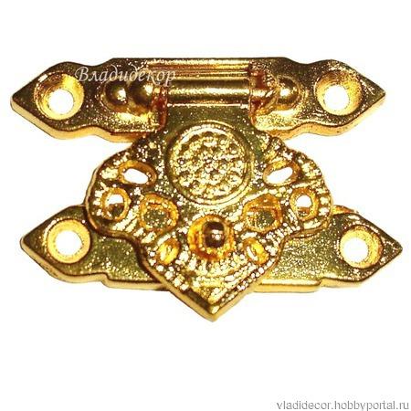 Замочек шкатулки фурнитура М-26 бронза золото декор ручной работы на заказ