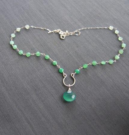 """Колье """"Viva verde"""" из серебра с хризопразами и халцедоном ручной работы на заказ"""