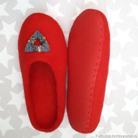 """Валяные тапочки красные """"Геометрия"""" ручной работы на заказ"""